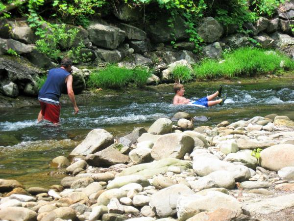 Tubing in the Little River behind campsite.