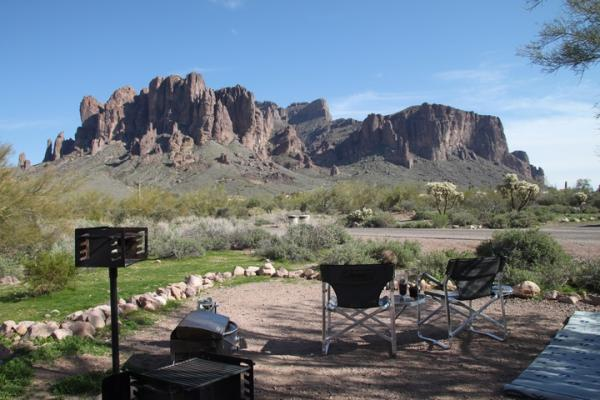 Lost Dutchman State Park and the Superstition Mountains.