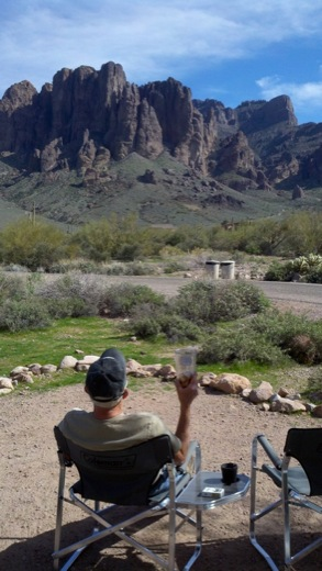 Now this is relaxing taking in the awesome Superstition Mountains.