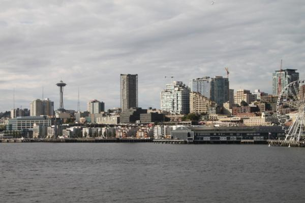 Part of the Seattle skyline from the ferry boat.
