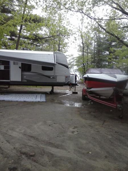 Site 86 at Northampton Beach Campground on a rainy Memorial Day weekend 2014