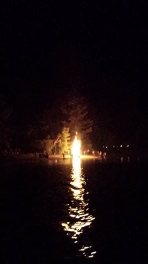 """Bonfire on the beach during the """"Ring Of Fire"""" at the Northampton Beach CG on the Great Sacandaga Lake."""