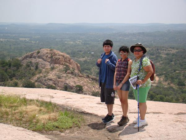 My wife, nephew, and niece, on top of the rock.