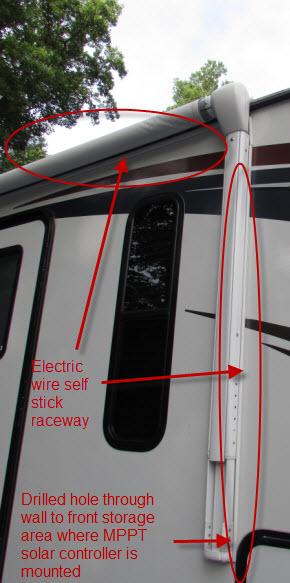 Solar Wire run   Self stick raceway