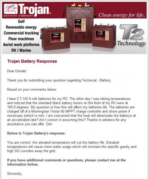 BATTERY   Trojan Battery Heat Response