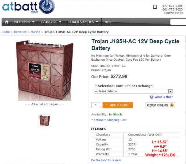 BATTERY   Trojan 12Volt   225Ah