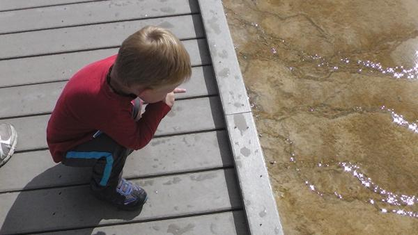 Corbin checking out the bacterial mats