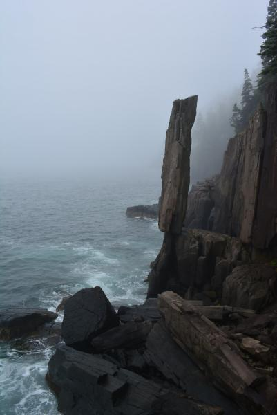 Balancing Rock in the fog