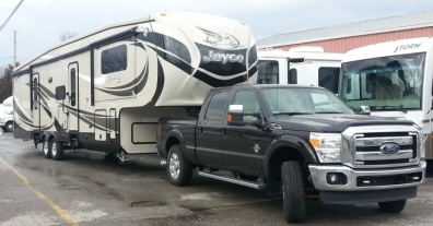 Picking up the new rig at the dealer.