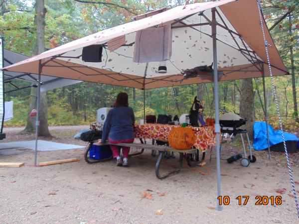 fall camping and rain, no problems for this Coleman Quick up shelter