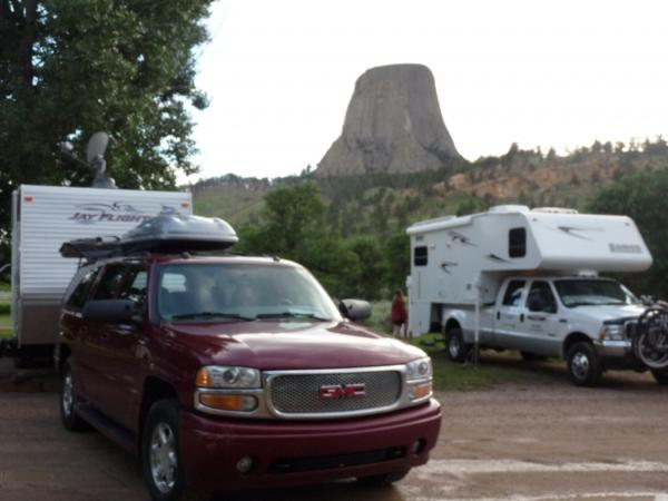 """Devil's Tower KOA.  A free screening of """"Close Encounters"""" is shown on an outdoor theater screen every night.  We ate hamburger steaks......with mashed potatoes :-) for dinner that night."""