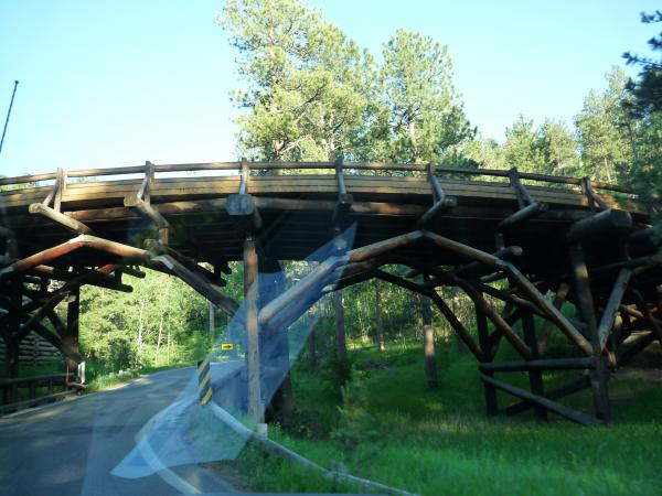 This is an example of the many wooden pigtail bridges on the Norbeck Highway.  Each bridge is constructed a little differently and is part of the charm of the road.