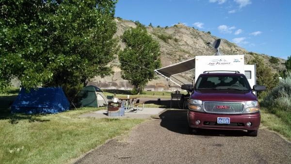 MAKOSHIKA STATE PARK The cool thing about these campgrounds are that you are nestled right in the badlands.  The kids are within 100 yards of climbing on the badland foothills.  Nicely paved, no electric, vault toilets.