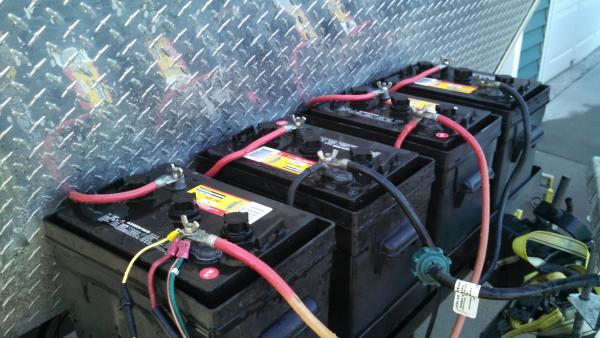 This is my battery bank (4-6 volt golf cart batteries).  