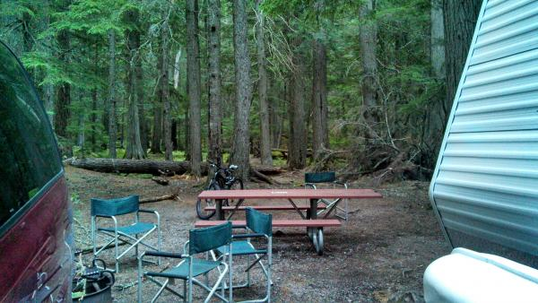 Our TT door opens to the picnic table and an endless cedar forest playground for the kids.  Love it!