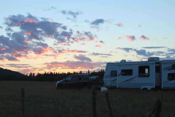Little Trailer on the Prairies...Family reunion in Pincher Creek. We got to boondock in a neighbours field.