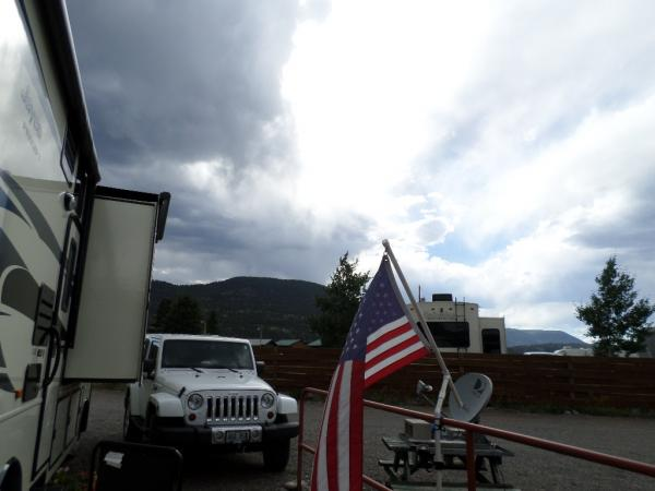July 2016, Alpine RV Park, South Fork, CO.  Storm clouds rolling off the mountains from the west.
