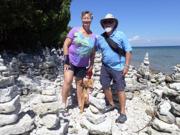Cave Point County Park near Jacksonport, Door county, WI Aug. 2016.  The family amidst the rock pilings. 