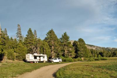 Boondocking along a forest road in the High Sierras.