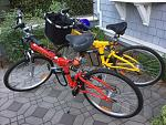 "2kSilver 26"" folding bikes (about 34#) and with a carrying bag - stored in the TT"