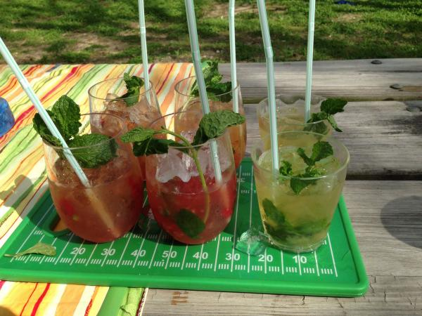 Our try at mint juleps.