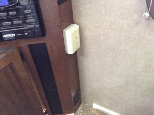 receptacle at entertainment center almost impossible to get to being so low and behind dining chair. Added a receptacle higher.