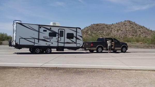 Here's the new 23MRB and TV (an '08 Ford F-150) at a rest stop on the way to Sunset Crater.