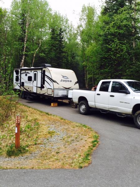 Just unhooked, 1st trip with new TT. home for 6 days. Eklutna Lake, AK