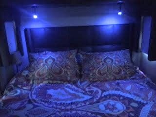 New blue/white reading lights in bedroom