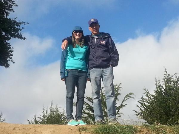 Mike and Melissa on a hike at KOA Half Moon Bay