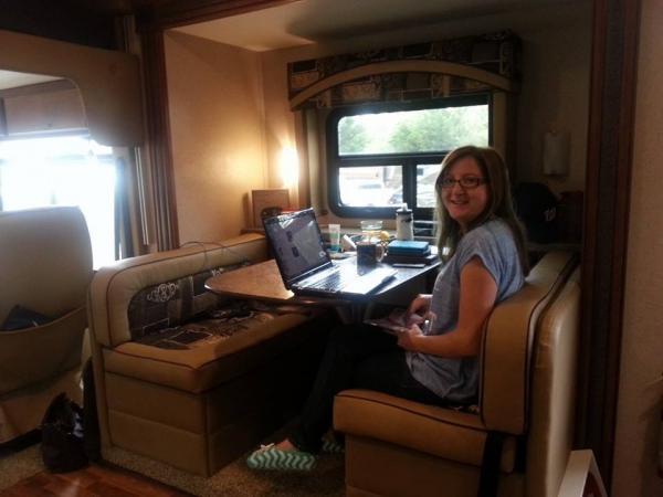 Melissa at her workstation