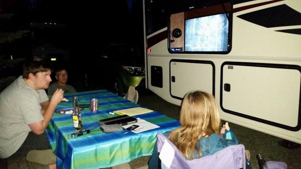 Movie night under stars at Diamond Lake campground   Good food, cold beer, and family.  Nothing better