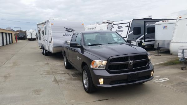 """Hooked up the new pickup to """"Baby Jay"""" for a tow test."""