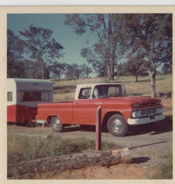 Dad's old Chevy with the camper hooked up. I think it was a Shasta. There was 6 of us loaded up in the pickup. And yes some in the bed. I slept in a hammock over the dinette/sleeper.