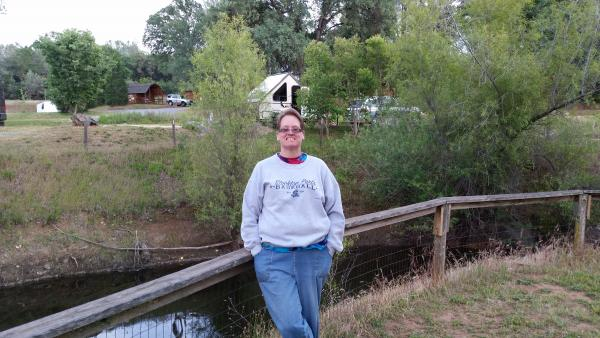 Cassie by the fishing pond.