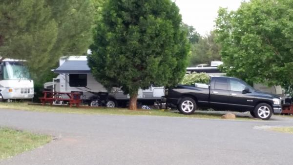 Trailer and pickup at our site. For a couple more dollars, I got a pull thru.