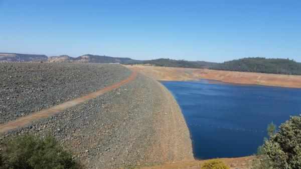 Oroville Dam and a very low lake level.