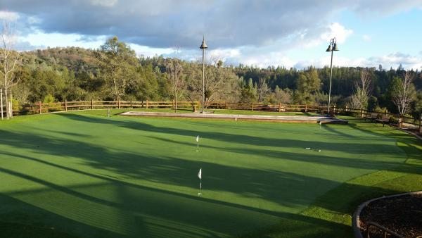 The putting green, bocce ball, horseshoe area.
