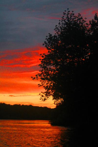 Sunset over Lake at Moraine View SP, IL