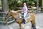 Erica on horseback at Glacier NP.