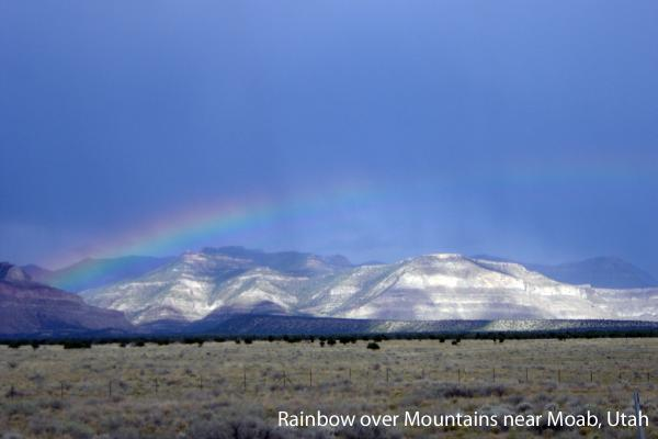 Rainbow over the mountains near Arches NP, Moab, Utah.