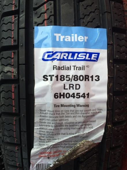 Changed the old bias ply tires out to new Carlisle Radials.  No more worries about tire rot now that all five are new.