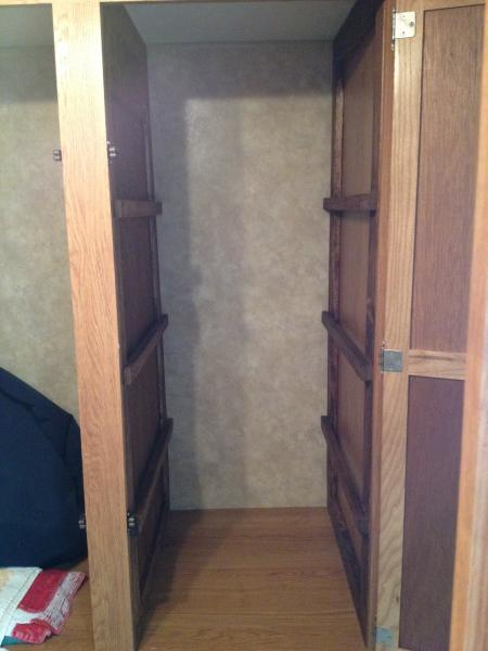 The closet was a big open space that we would never fully use as a closet so we decided to split it in half making a pantry. Removed closet rod, build inserts with shelf bars for the right side and center.
