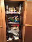 "The closet was a big open space that we would never fully use as a closet so we decided to split it in half making a pantry. Cut 20"" deep wire shelf..."