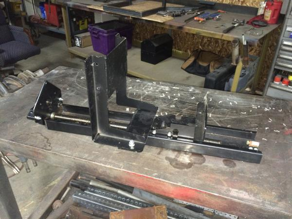 RBW QDS-7009-SM SYSTEM Main Slide Unit sitting on the bench so that the gear drive mounting plate can be welded.