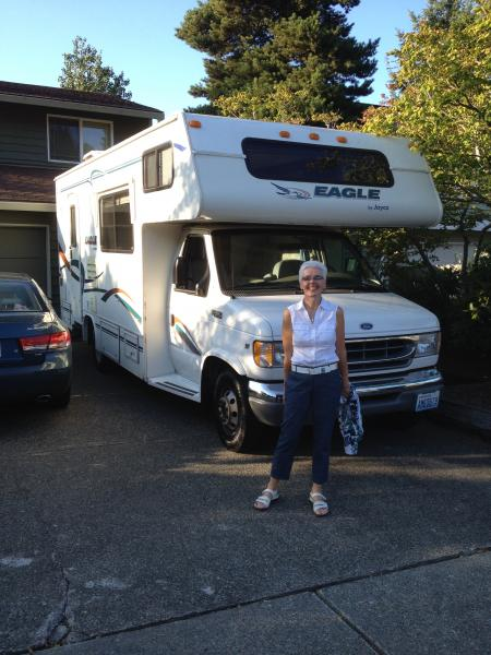 """Jan and our """"new"""" 2000 Jayco Eagle 23' Class C. Our home away from home."""