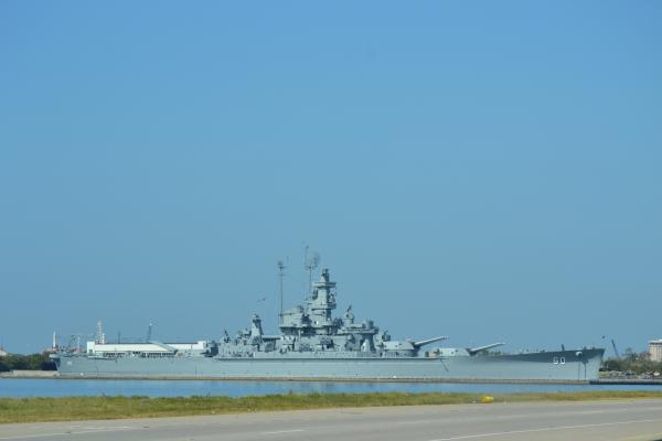 USS Alabama outside Mobile