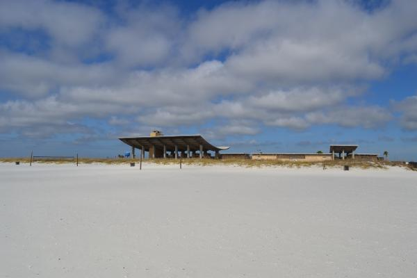 Pavilion from beach, park owns three miles of beach!