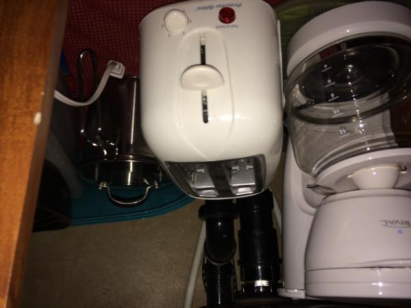 I guess I got this one entirely upside down, lol.  Just a close up shot of the coffee maker, toaster, multi-pot, etc that we store under the sink.  Appliances are the college specials from Walmart - around $8 each and work just great.