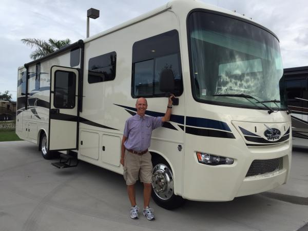 Colin establishing ownership of our 2016 Jayco Precept 35UP!